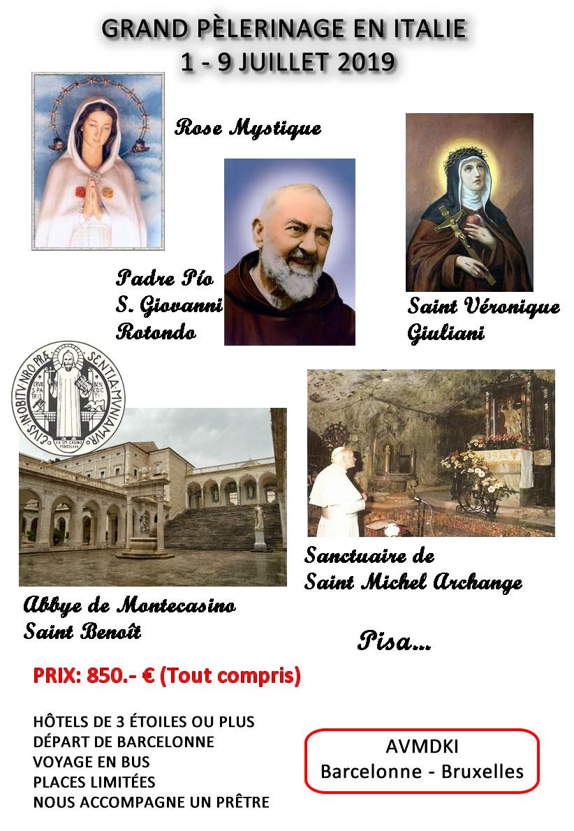Grand pèlerinage en Italie – Jul 2019 – détails
